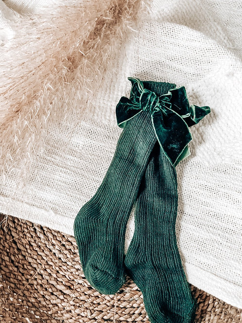 Green Velvet Bow Socks