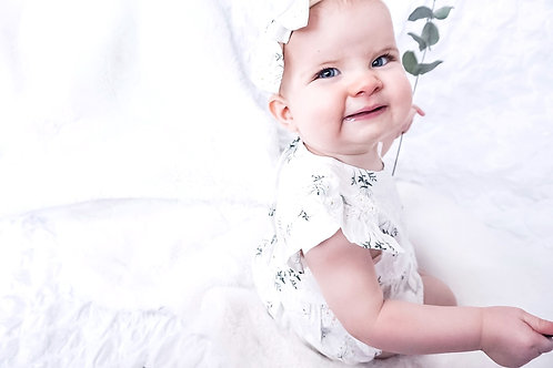 White Floral Bodysuit With Matching Headband