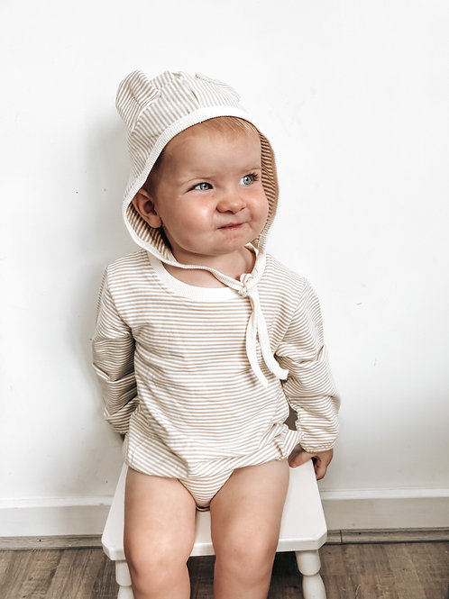 Striped Sweatshirt Romper and Hat with Ears