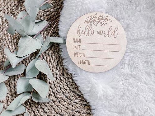 Hello World Birth Announcement Plaque