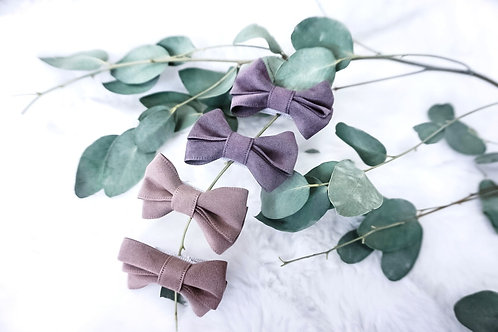 Handmade Suede Hair Bow Clips (2 pack)