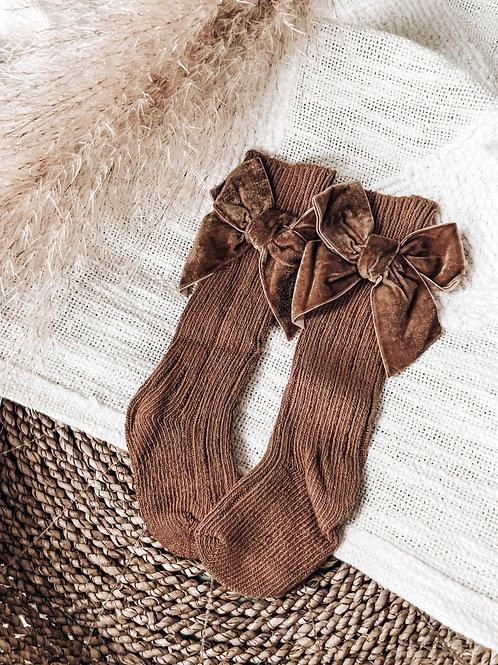 Brown Velvet Bow Socks