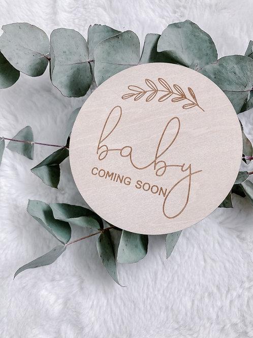 Pregnancy Announcement Wooden Disk