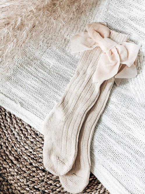 Cream Velvet Bow Socks