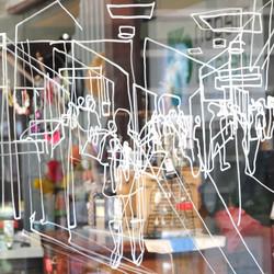 Chalk pen on window
