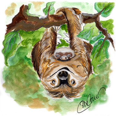 A simple sloth & her sleepy slothy baby - Commission
