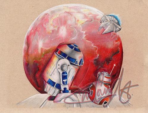 Under the Red Moon (R2D2 & BB*) - Art Print