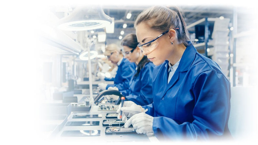 Soldering at the electronics factory