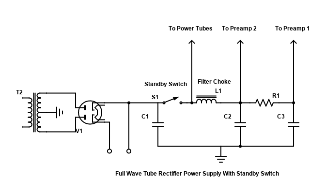 Tube Rectified Power Supply with Standby Switch