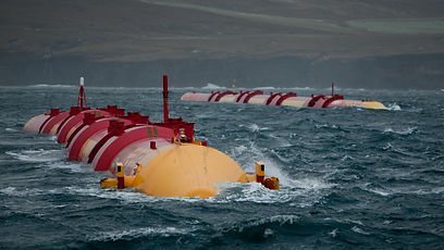 Machines designed by Pelamis Wave Power operating offshore at the Billia Croo test site of the European Marine Energy Centre (EMEC), located in Scotland's Orkney Islands.