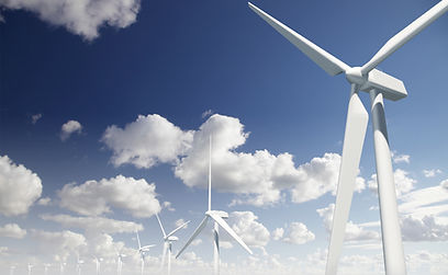 Wind turbines against a blue sky