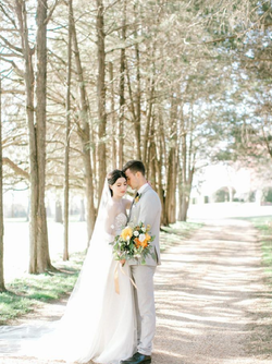 Bride&Groomstand in tall trees