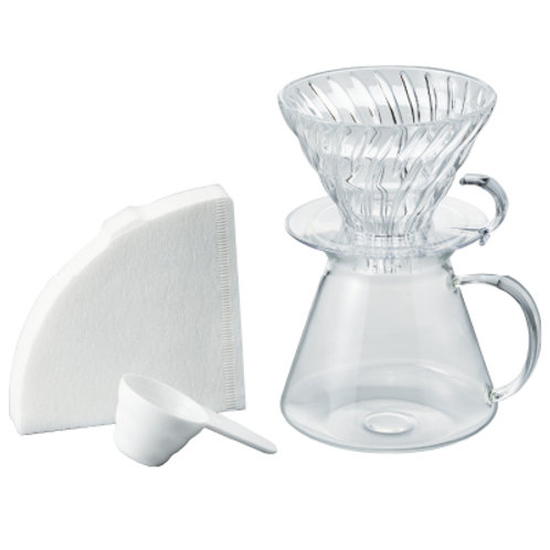 Simply Hario V60 All Glass Dripper & Server Pour Over Set - 02 size