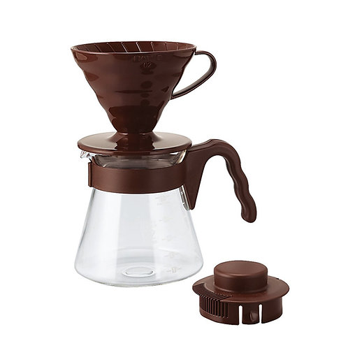 Hario V60 Plastic Dripper Pour Over Set - Brown 02 Size