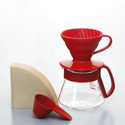 Hario V60 Ceramic Pour Over Kit - Red 01