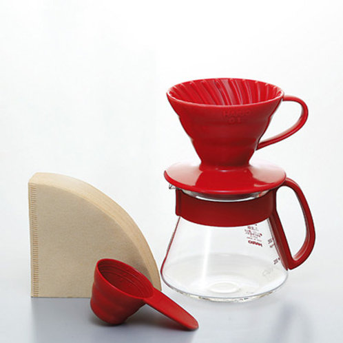 Hario V60 Ceramic Pour Over Kit - Red 01 (1-2 Cups)