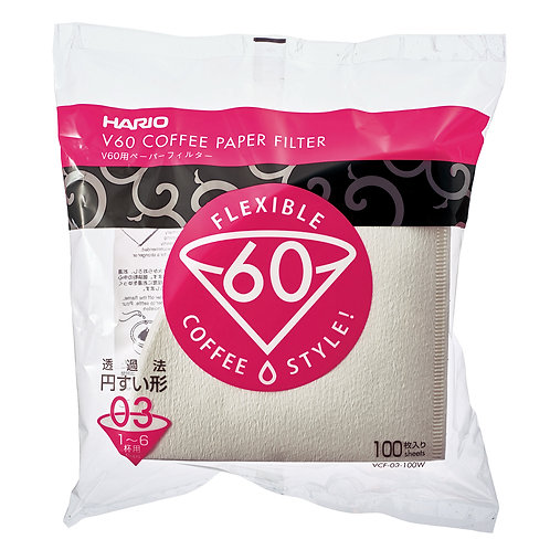 Hario V60 Paper Filter White 03 - 100 PCS