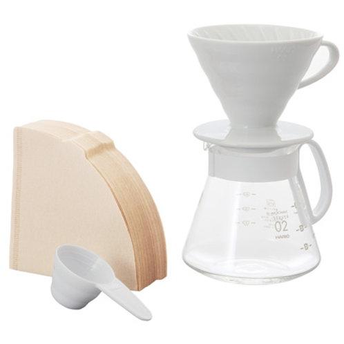 Hario V60 Ceramic Pour Over Kit - White 02 (1-4 Cups)