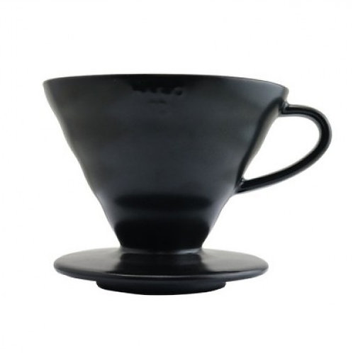 Hario V60 Matte Black Ceramic Pour Over Coffee Dripper - Size 02