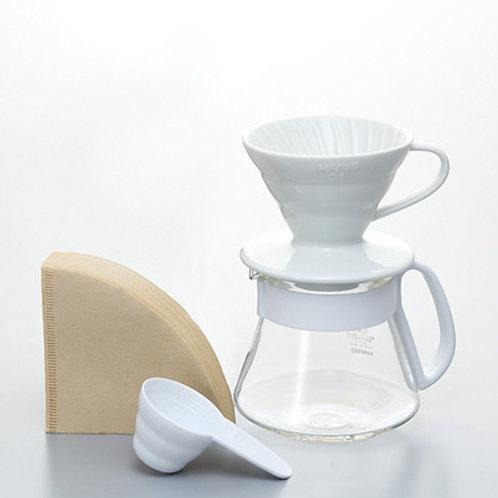 Hario V60 Ceramic Pour Over Kit - White 01 (1-2 Cups)