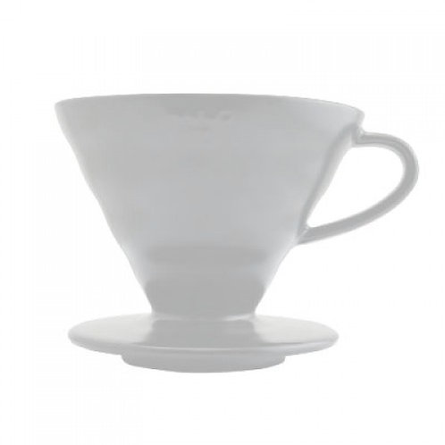 Hario V60 Matte White Ceramic Pour Over Coffee Dripper - Size 02
