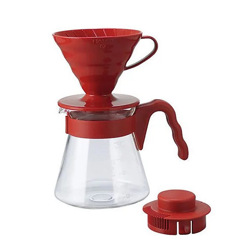 Hario V60 Plastic Dripper Pour Over Set - Red 02 Size