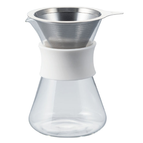 Simply Hario V60 Glass Coffee Maker with Stainless Steel Double Mesh Filter