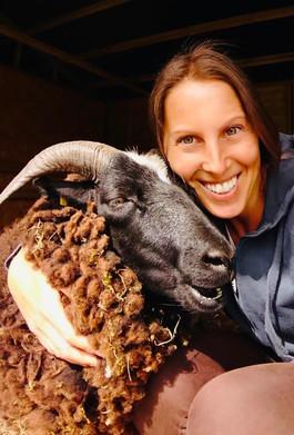 Hug time with Dave Sheep