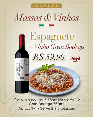 Combo iFood Espaguete + Garrafa de Vinho Tinto