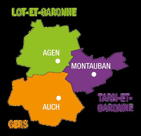 Gers, Lot-et-Garonne, Tarn-et-Garonne