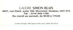 1991 Galerie Simon Blais