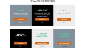 Page formations site Internet club de tir
