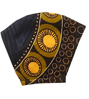 Gold, green, blue, brown 100% cotton African wax print face mask