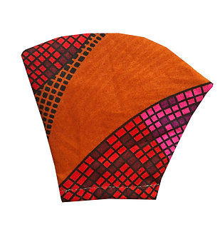 Orange hue African wax print face mask with pattern