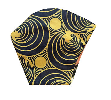 Cream and navy Burnt orange 100% cotton African wax print face mask with circular pattern