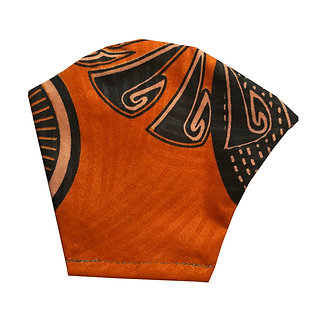 Burnt orange 100% cotton African wax print face mask with leaf pattern