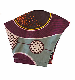 Gray, red, white, plum100% cotton African wax print face mask with retro pattern