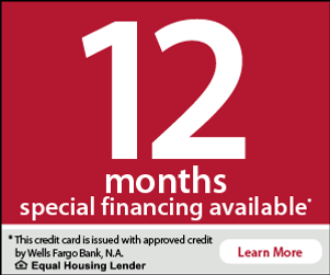 12 months special financing by Wells Fargo