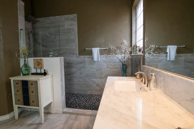 Bathroom Remodel White Granite