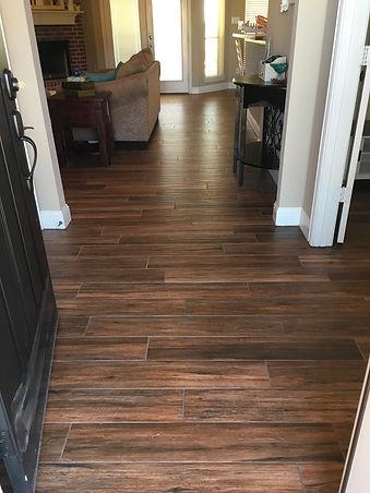 Wood look tile in home