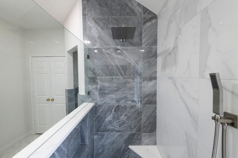 Blue Grey Shower TIle