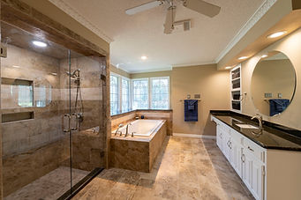 Traditional travertine tile in bathroom