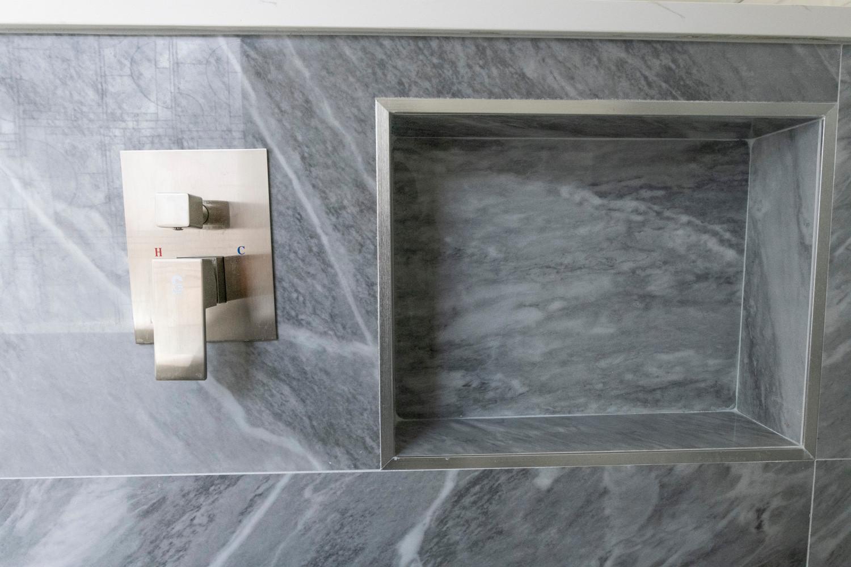 Shower Niche Grey Tile