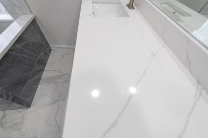 White granite bathroom White floor