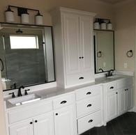 White bathroom linen Closet
