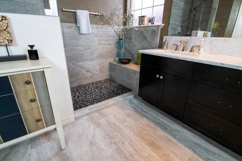 Dark Pebbles Shower Floor