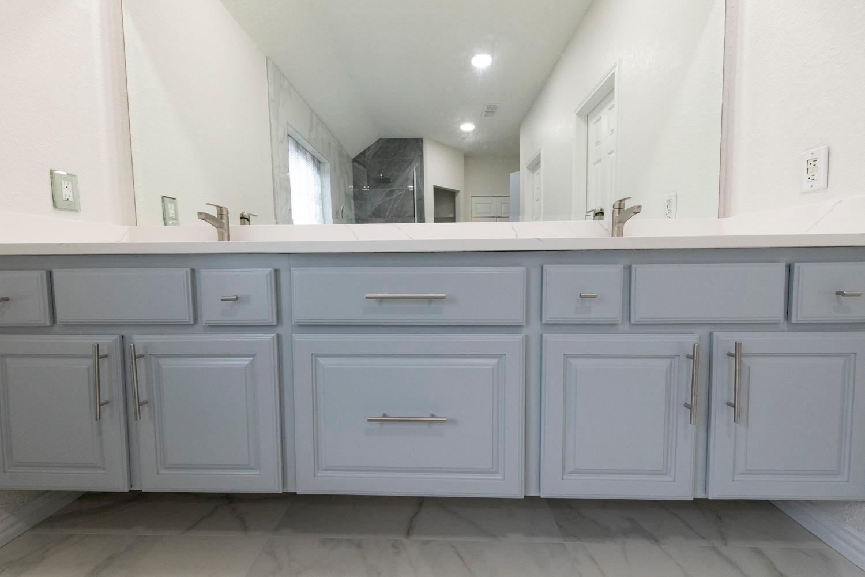 Blue Floating Cabinets Bathroom