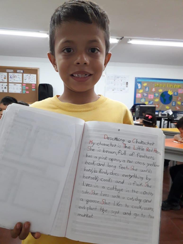 Esteban Avendaño de 7 años de edad nos muestra su texto hecho en clase