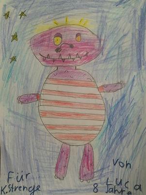 Kinderbild, Der Kinderfresser, gemalt von Kindern, Kobalat, Klaus Strenge