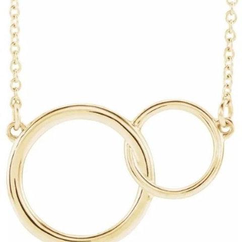 4kt  Interlocking Circle Necklace